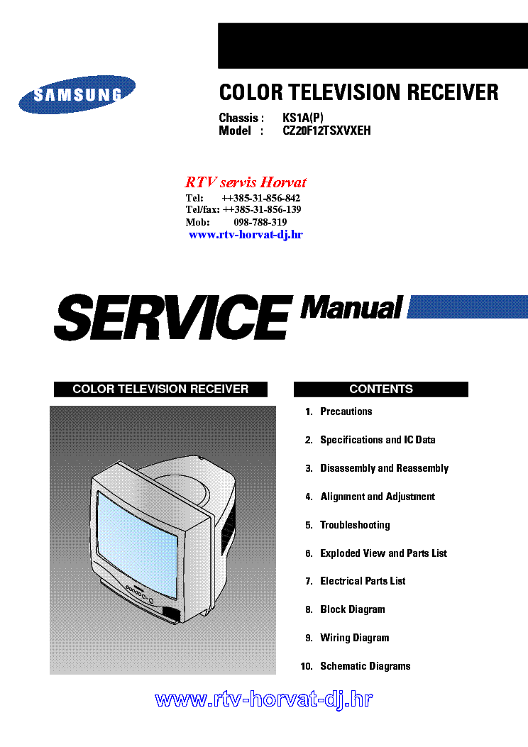 SAMSUNG KS1AP CHASSIS CZ20F12TSXVXEH0 TV SM service manual (1st page)