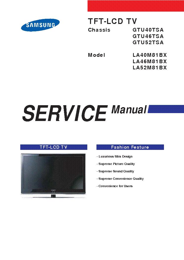 samsung la40m81bx la46m81bx la52m81bx chassis gtu40 46 52tsa sm rh elektrotanya com samsung 52 inch lcd tv manual samsung 55 manual