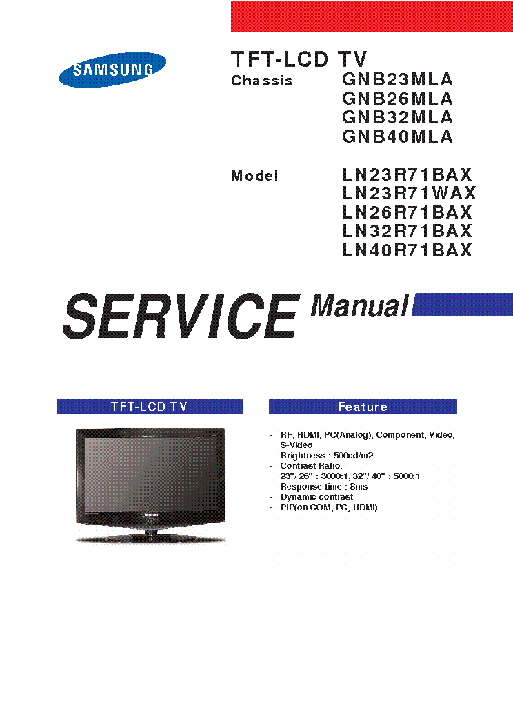 SAMSUNG LN32R71B CHASSIS GMB32MLA SCH service manual (1st page)