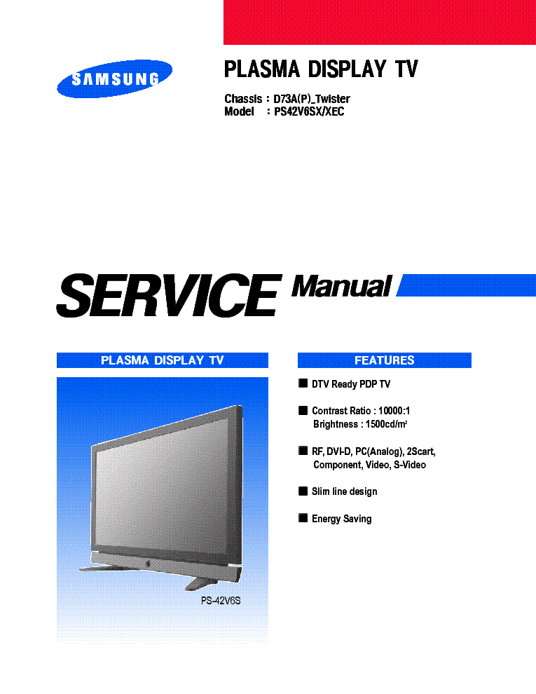 samsung ps42v6sx xec chassis d73ap twister service manual download rh elektrotanya com samsung plasma 42 service manual Samsung Refrigerator Repair Manual
