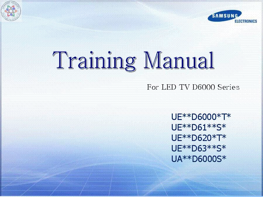 samsung ue d6000 d61xx d620x d63xx ua training manual service manual rh elektrotanya com Samsung LED D6000 samsung d6000 manual