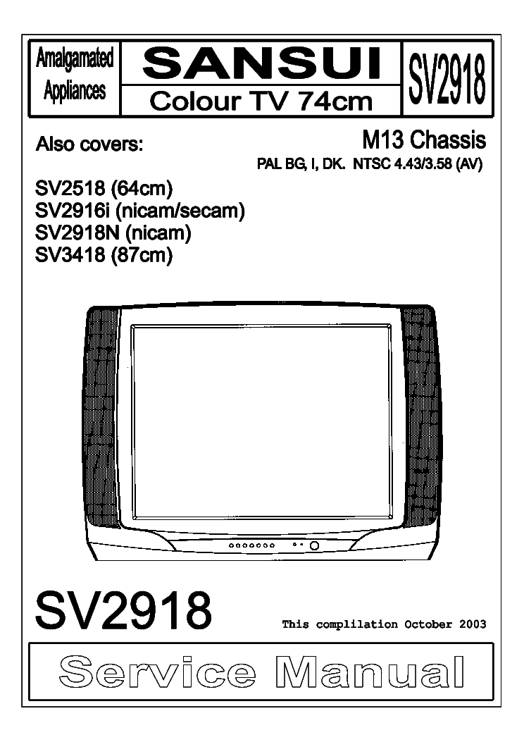 sansui sv2918 sv2518 sv2916i sv2918n sv3418 chassis m13 sm service rh elektrotanya com color tv repair manual TV Repair Old Books