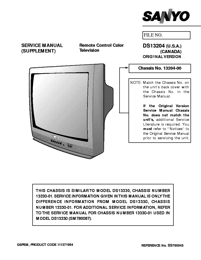 sanyo ds13204 service manual download schematics eeprom repair rh elektrotanya com Sanyo Flat Screen TV Sanyo TV Service Manuals
