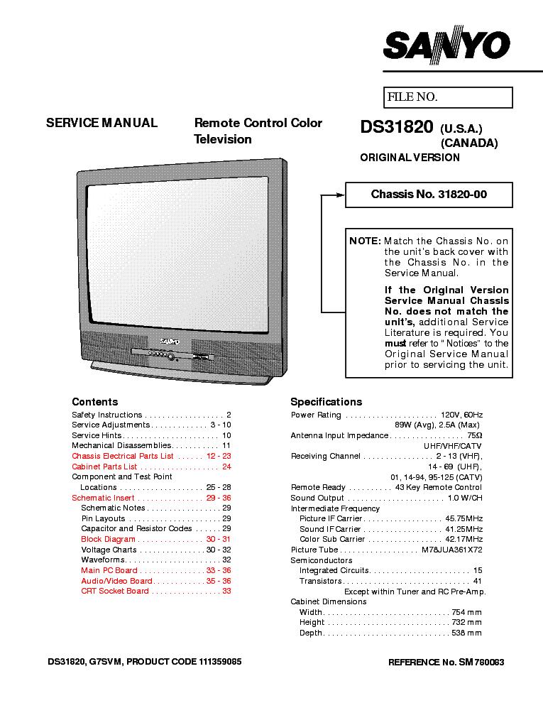 SANYO DS31820-SERVICE-MANUAL Service Manual download, schematics