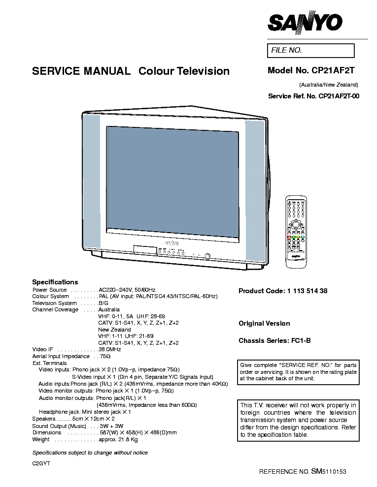 sanyo fc1b chassis cp21af2t tv sm service manual download rh elektrotanya com Honda Service Repair Manual Service Repair Manuals Online