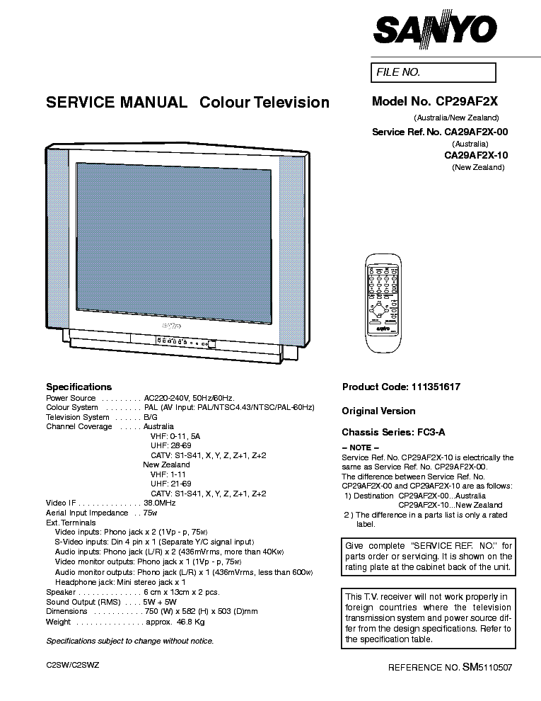 sanyo fc3a chassis cp29af2x tv sm service manual download rh elektrotanya com sanyo tv manual pdf sanyo tv manual