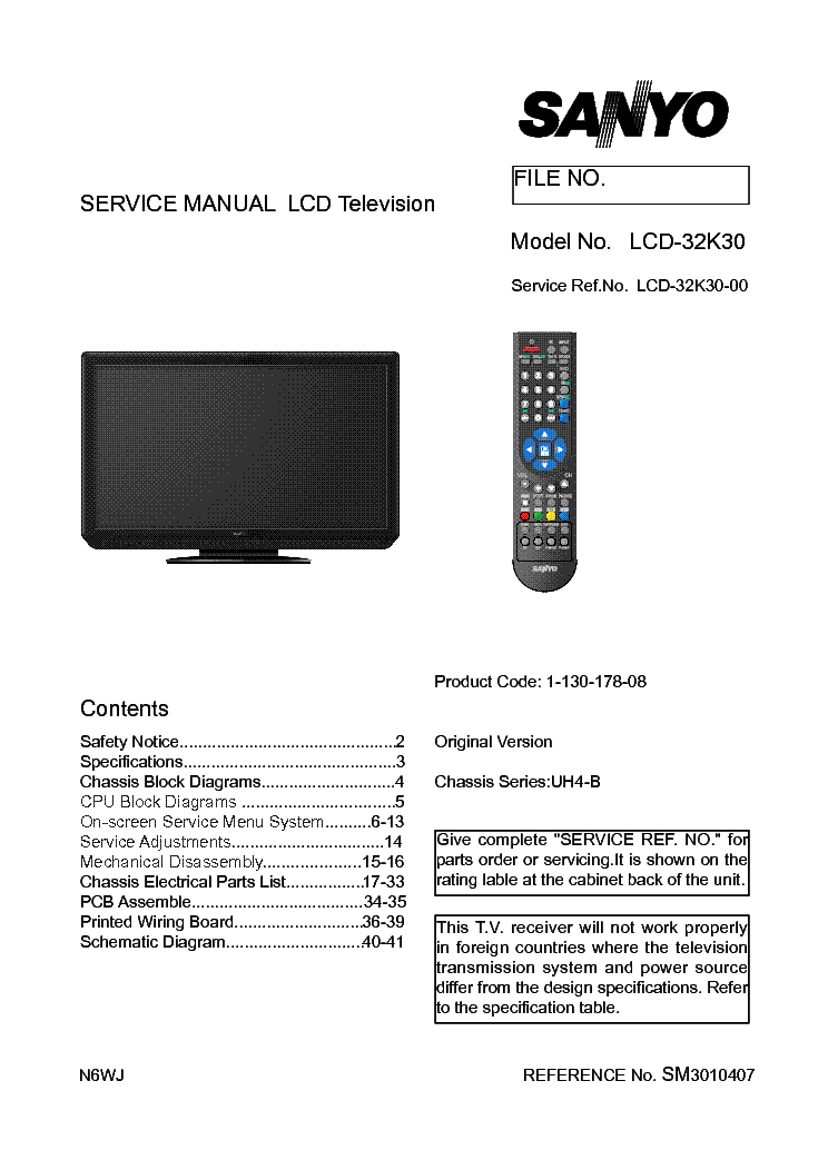 Sanyo Lcd 32k30 Chassis Uh4 B Service Manual Download