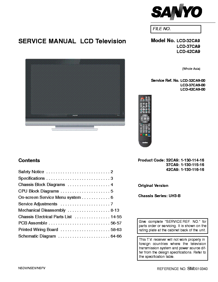 SANYO LCD-37CA9 CHASSIS UH3-B SM service manual (1st page)