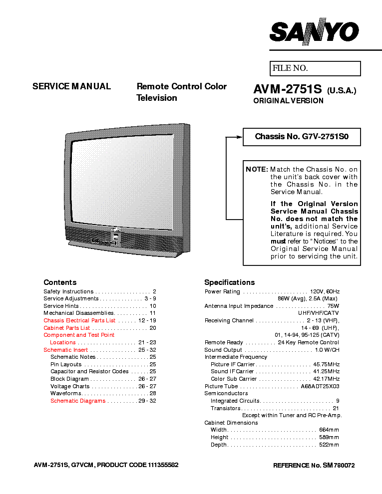 sanyo tv avm 2751s g7v 2751s0 sm service manual download schematics rh elektrotanya com sanyo smart tv manual sanyo tv manual