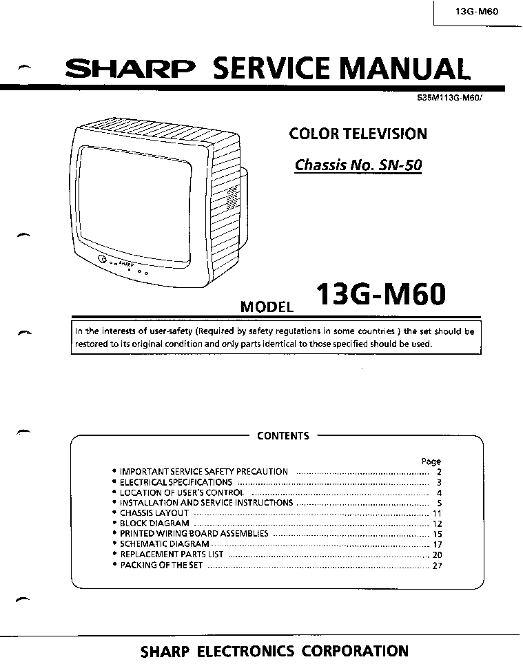 Sharp 13gm60 Tv Sm Service Manual Download  Schematics