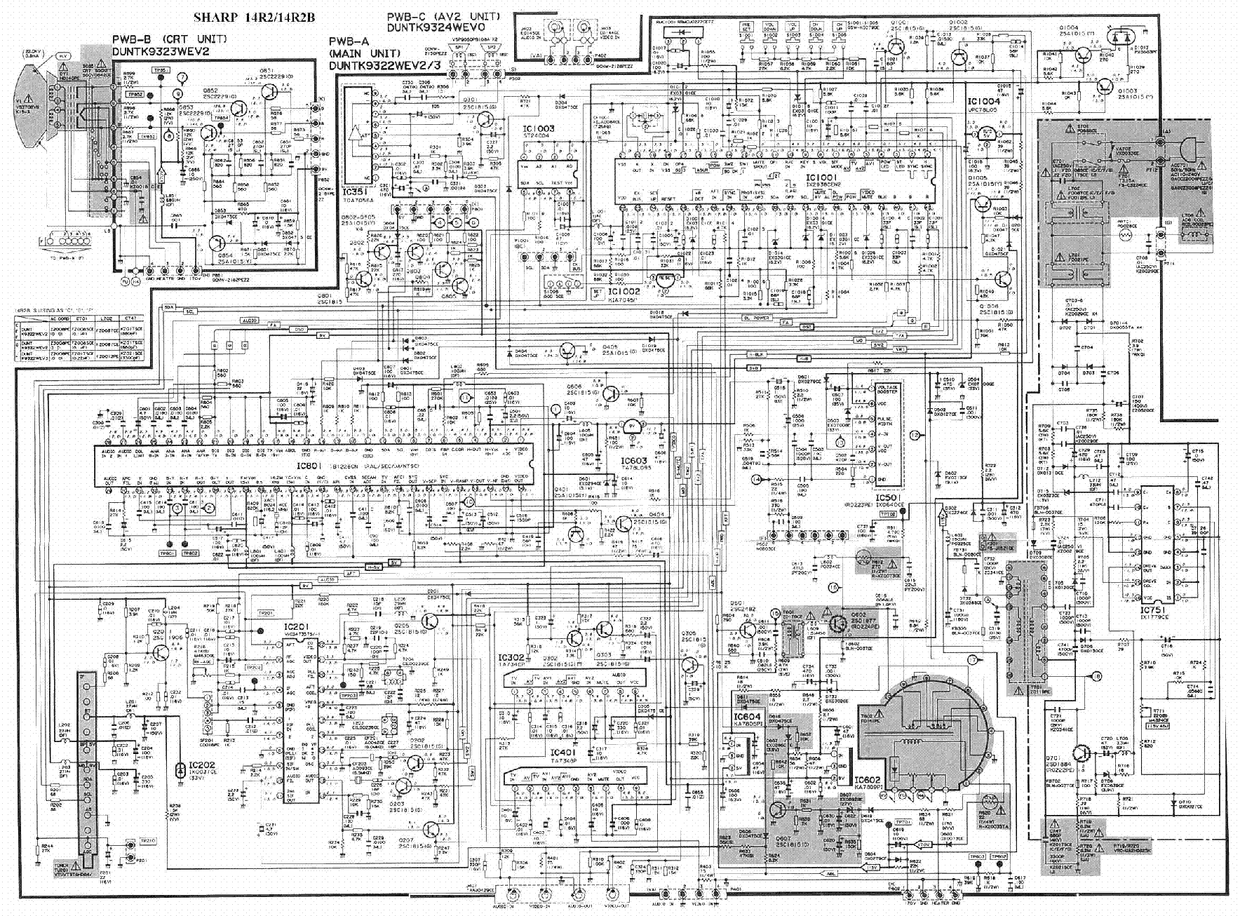 Sharp c1451sc tv d service manual download, schematics, eeprom.