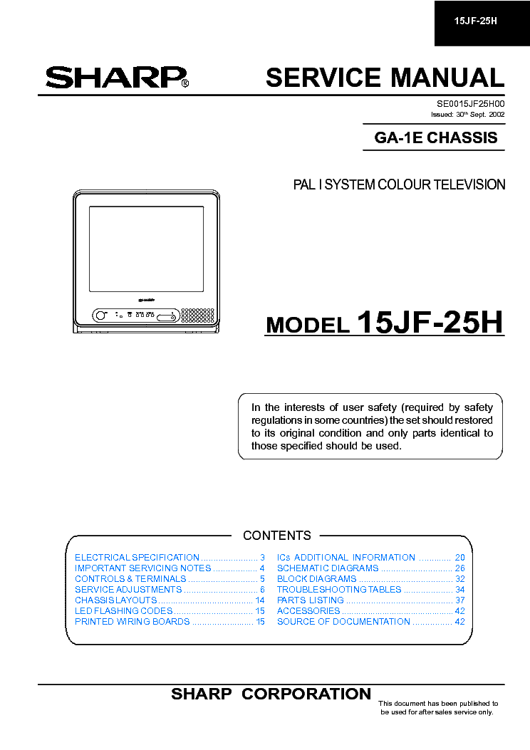 SHARP 15JF25H CHASSIS GA-1E service manual (1st page)