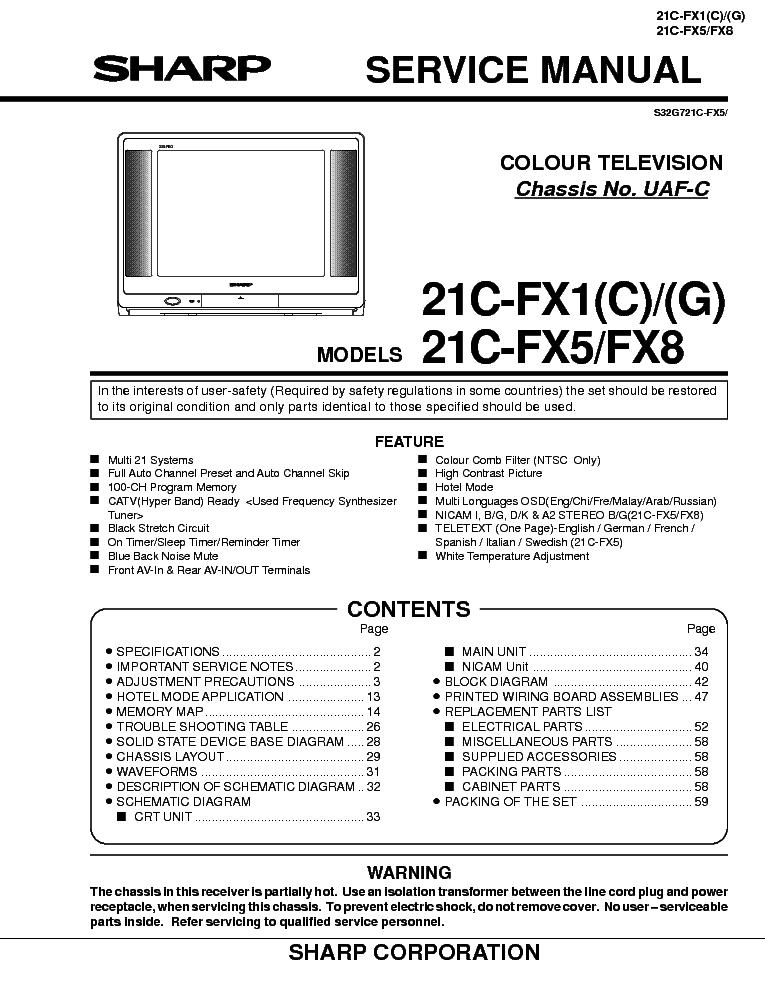 SHARP 21C-FX1 FX5 FX8 Service Manual download, schematics