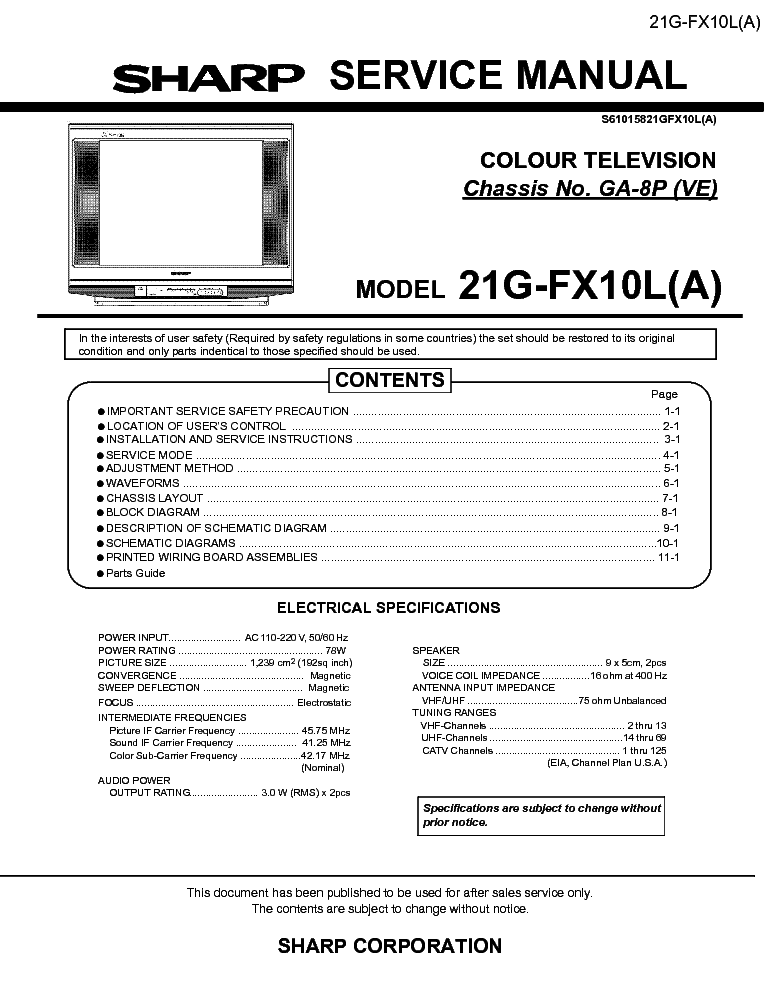 sharp 21g fx10l service manual download schematics eeprom repair rh elektrotanya com manual tv sharp aquos español manual sharp comfort touch air conditioner