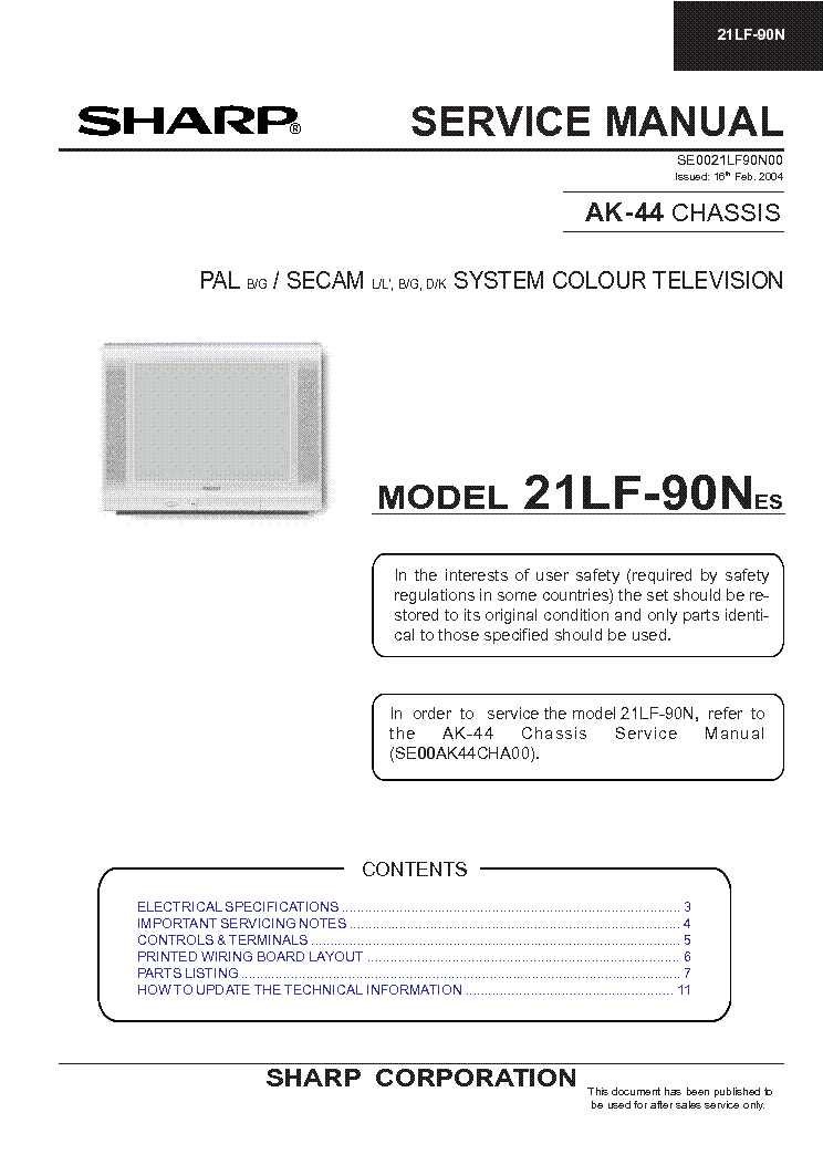 SHARP 21LF-90N CHASSIS AK-44 SM service manual (1st page)