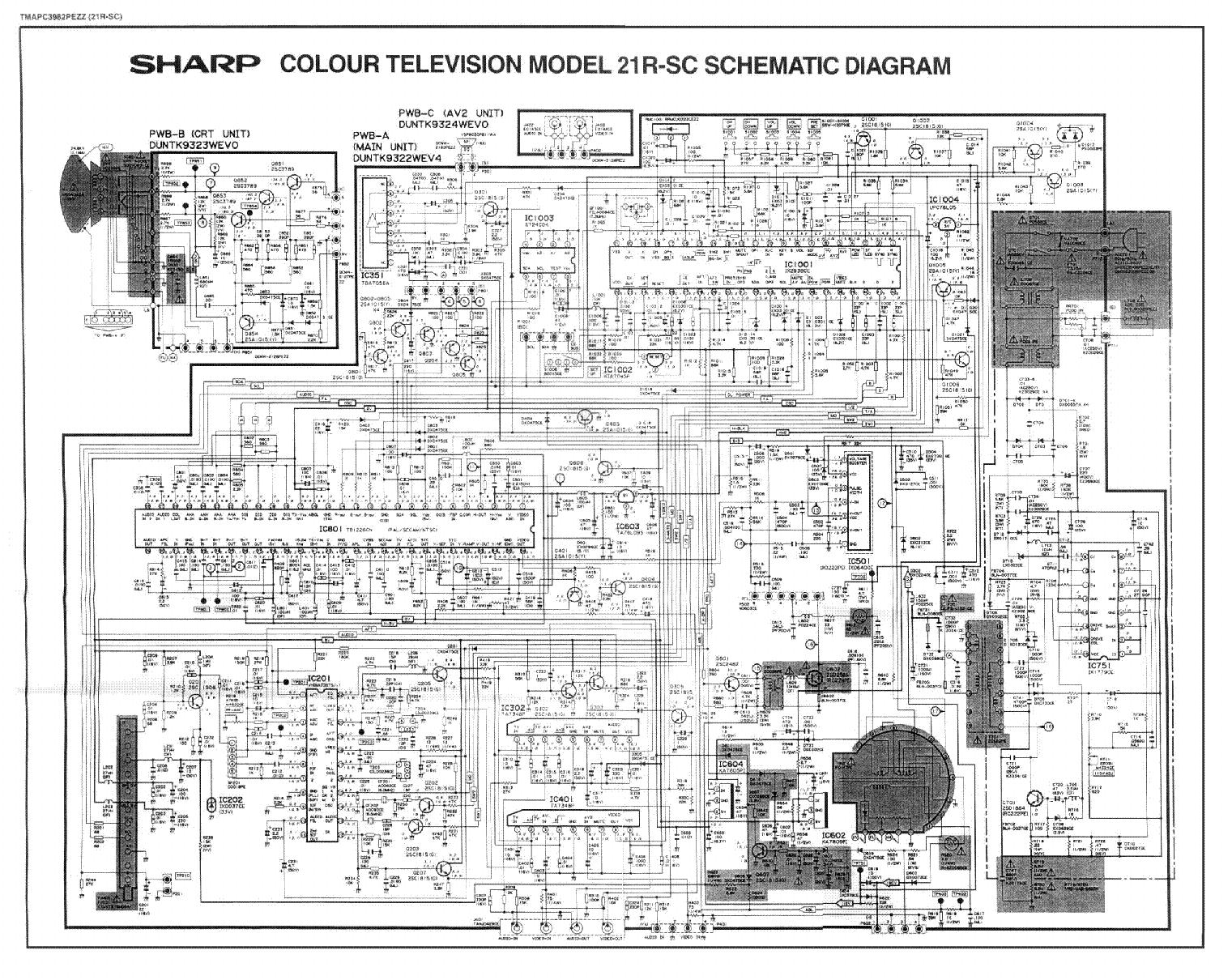 Схема телевизора SHARP 21R-SC, Шасси EC3-A.
