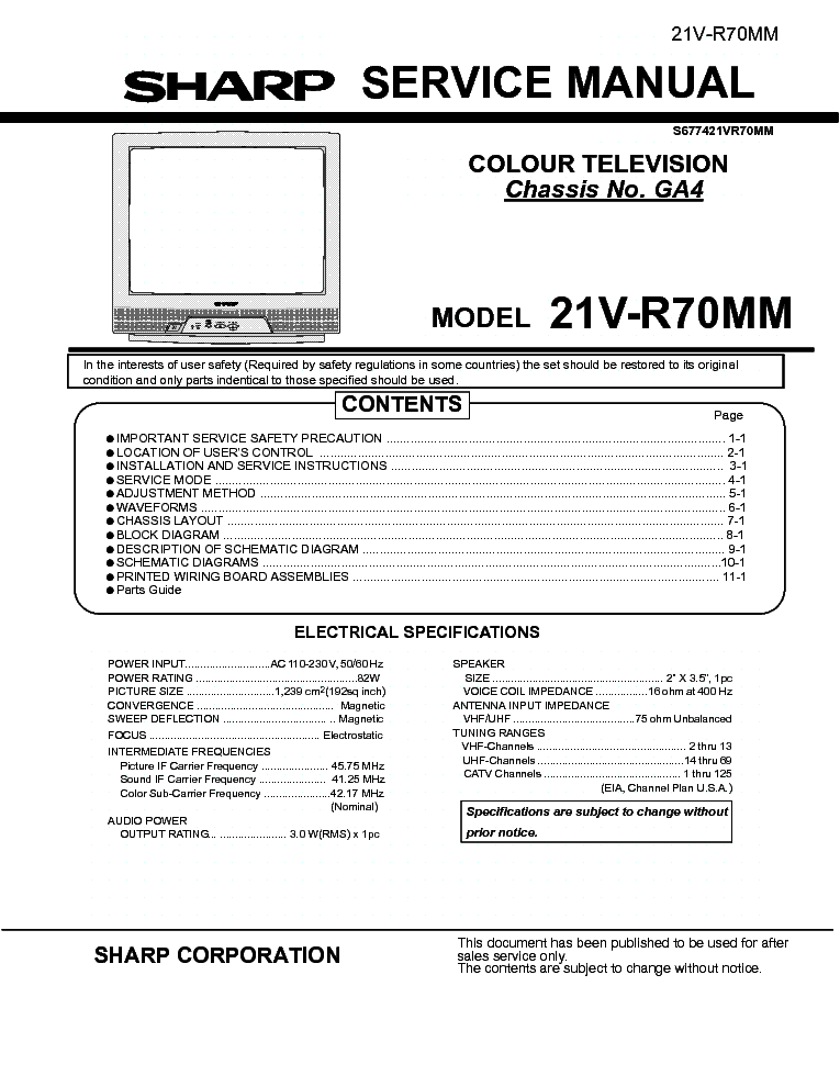 sharp 21v r70mm chassis ga4 service manual download schematics rh elektrotanya com sharp crt tv service manual sharp crt tv service manual