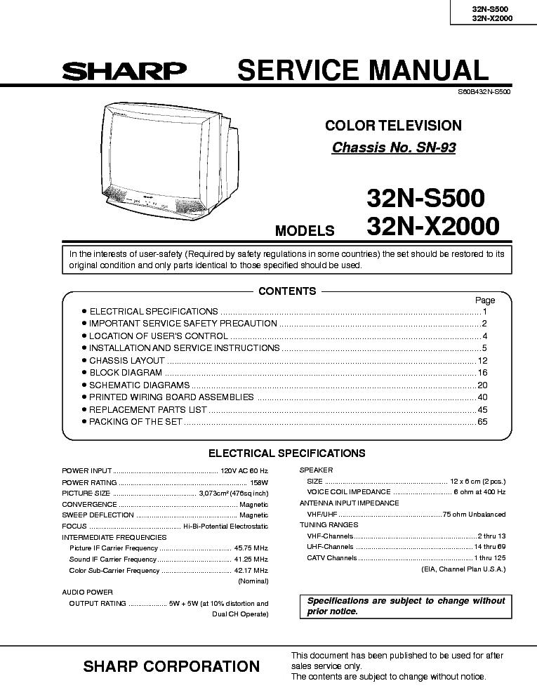 sharp 36u s50 tv service manual download
