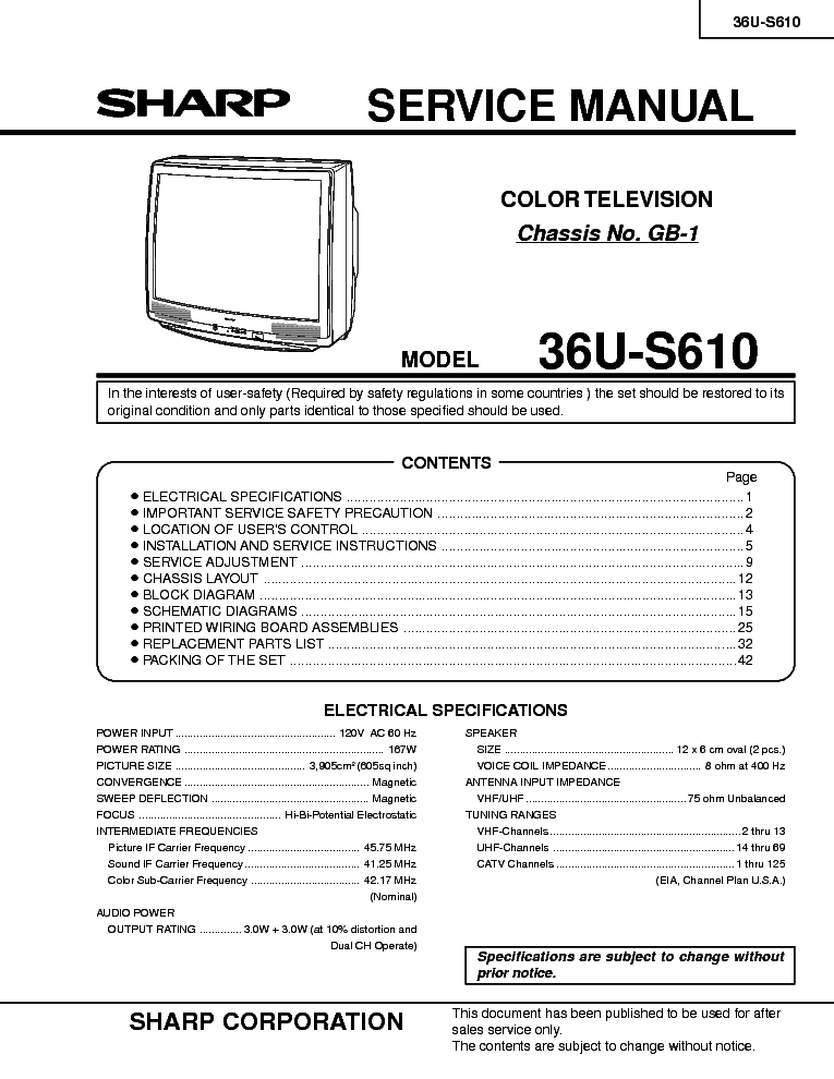 Manulas Sharp 36u F510 Tv Service Manual Pdf Read Or Download Full Version Hd Quality At Oldcarwiring Intoparadiso It