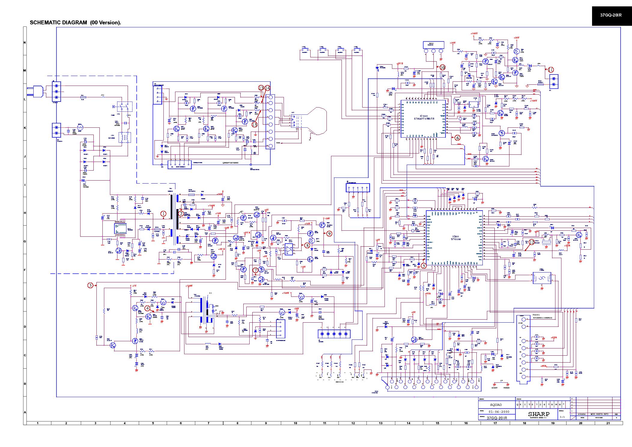 Электрическая схема телевизора sharp
