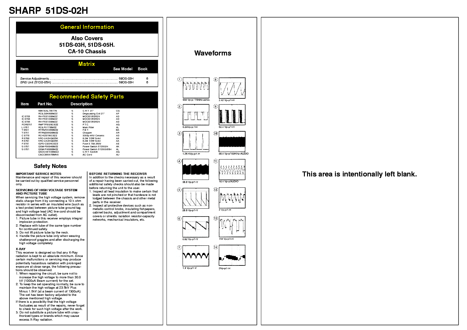SHARP 51DS02H CHASSIS CA-10 service manual (1st page)