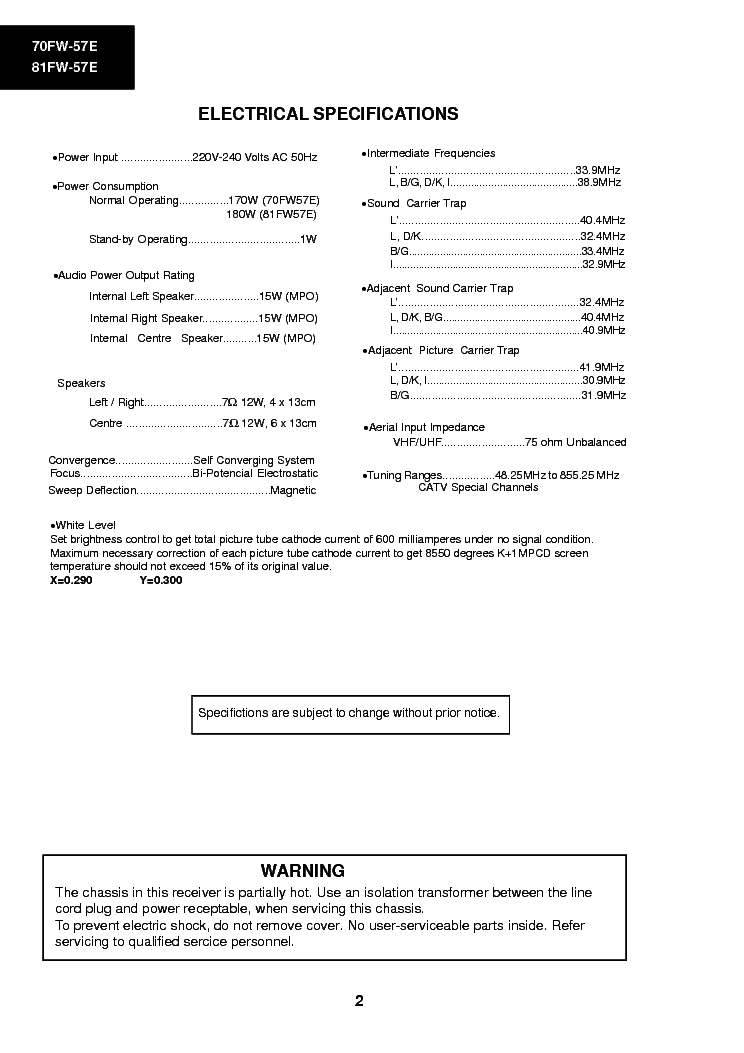 Sharp 70fw 57e 81fw 57e Television Schematic Diagram Manual