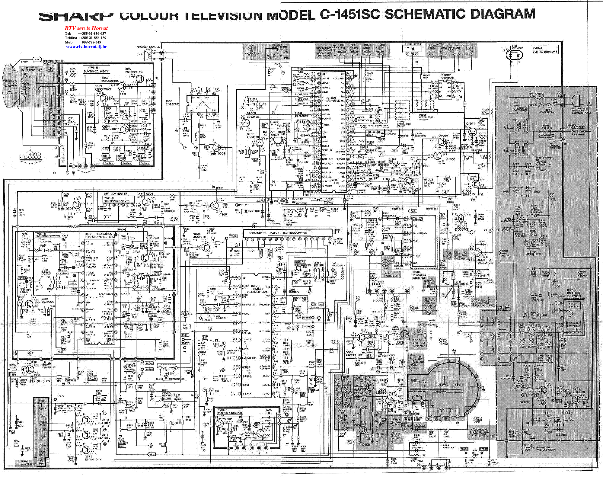 Sharp C1451sc Tv D Service Manual Download  Schematics