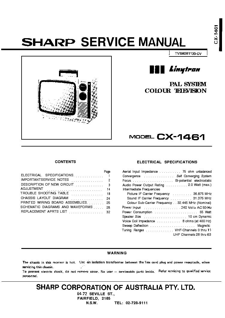 Sharp Cx1461 Tv Sm Service Manual Download  Schematics