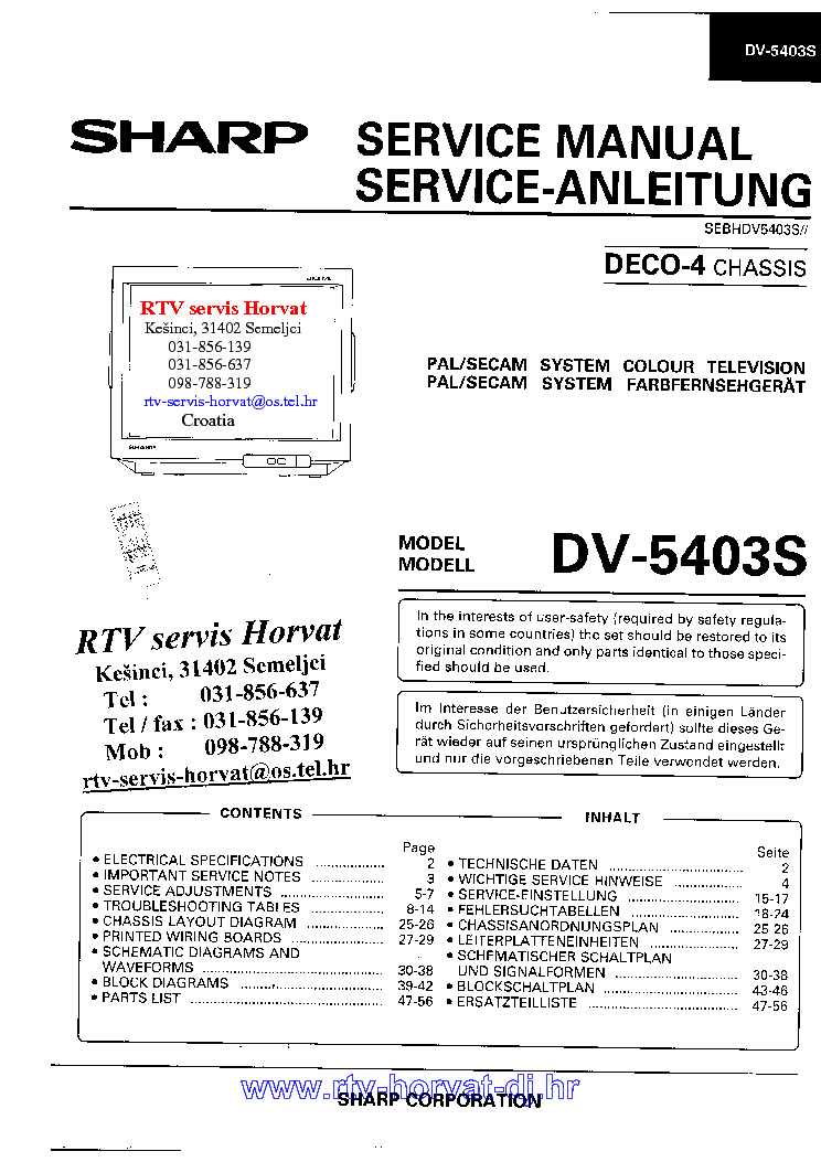 SHARP DECO4 CHASSIS DV5403 TV SM service manual