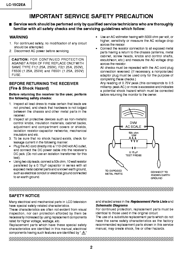 SHARP LC-15C2EA service manual (2nd page)