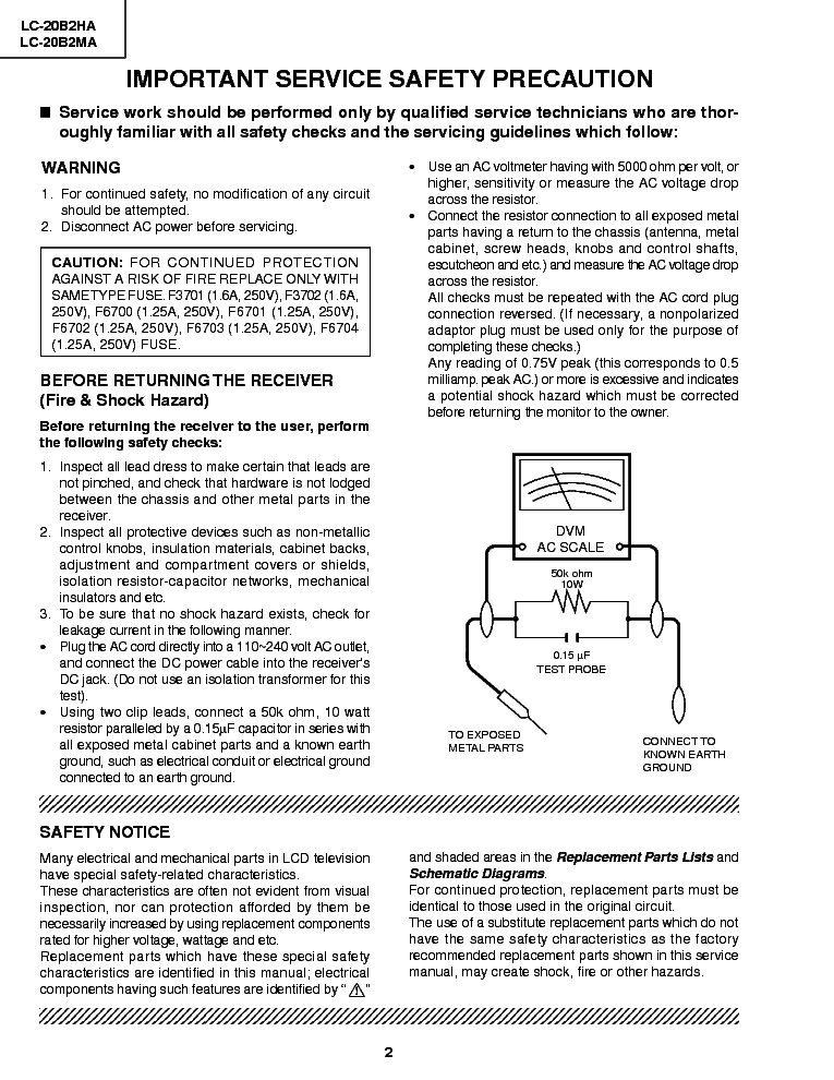 SHARP LC-20B2MA service manual (2nd page)