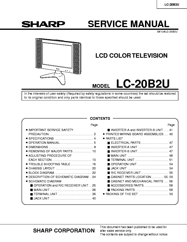 SHARP LC-20B2U service manual (1st page)