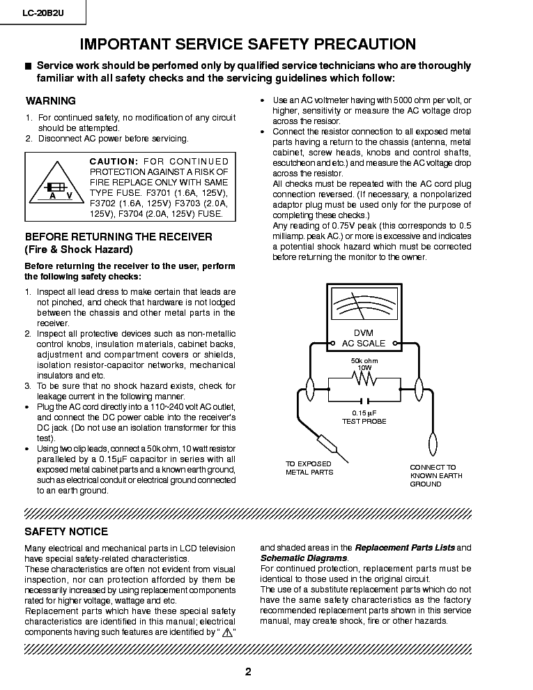 SHARP LC-20B2U service manual (2nd page)