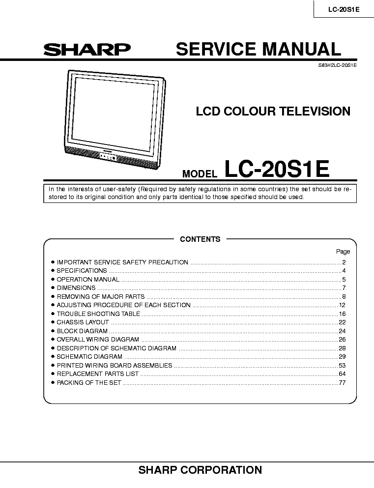 This picture is a preview of SHARP LC-20S1E SM.