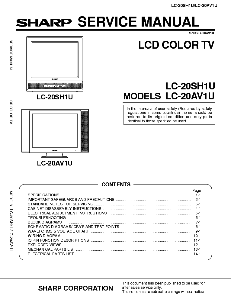 SHARP LC-20SH1U LC-20AV1U service manual (1st page)