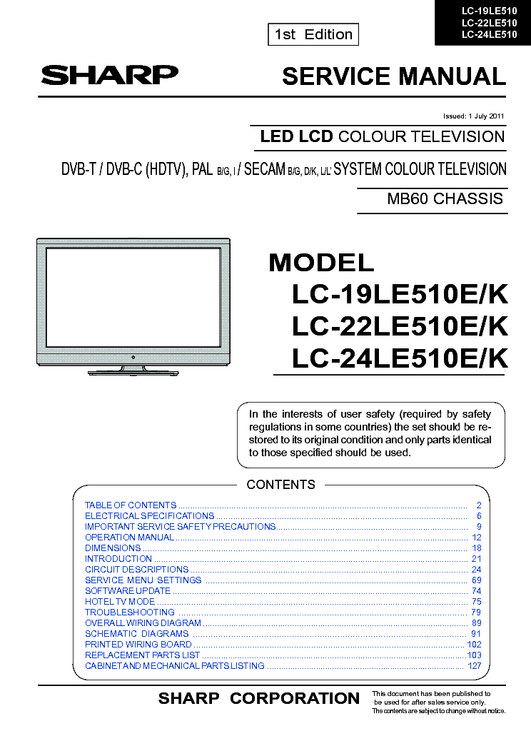 SHARP LC-22LE510E service manual (1st page)