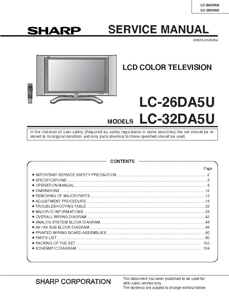 sharp lc 26 32da5u service manual download schematics eeprom rh elektrotanya com manual de tv sharp aquos en español manual da tv sharp antiga