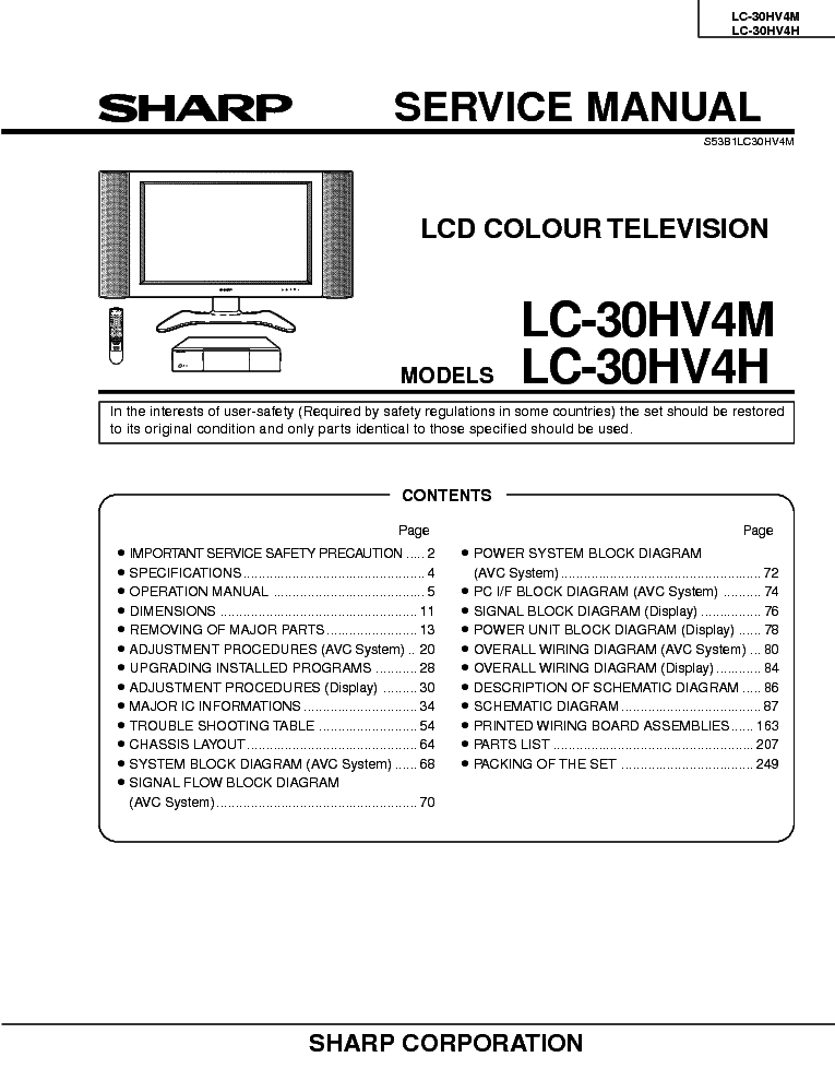 SHARP LC-30HV4M LC-30HV4H LCD TV SM service manual