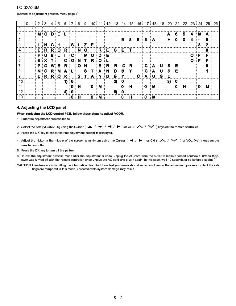 SHARP LC-32A33M Service Manual download, schematics, eeprom