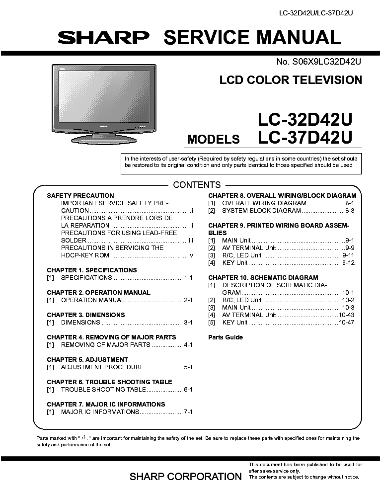 Tv owner's manual | lc-43lb481u | sharp tv usa.