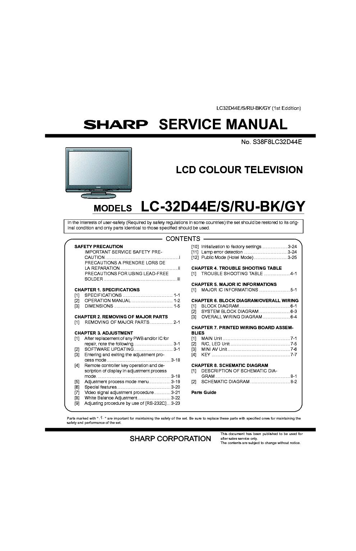Sharp lc 32d44e service manual