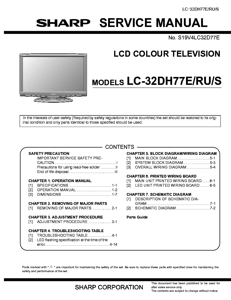 sharp lc 32dh77e lcd tv sm service manual download schematics rh elektrotanya com Sharp AQUOS LCD TV 27 Sharp TV 52 Operation Manual