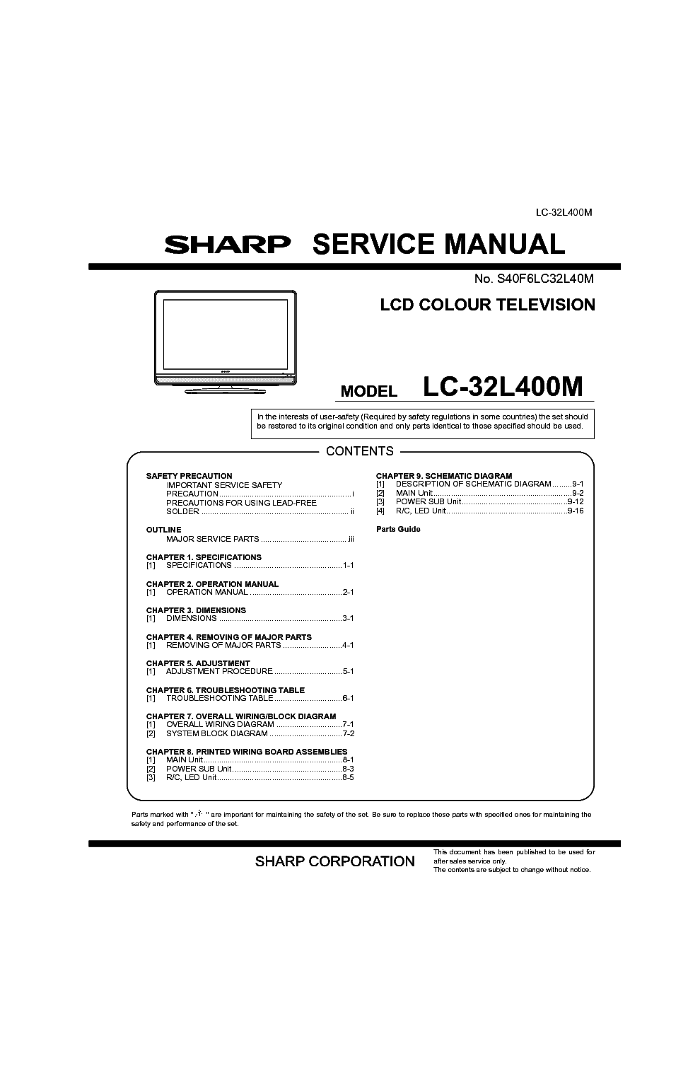 sharp lc 32l400m service manual download schematics eeprom repair rh elektrotanya com