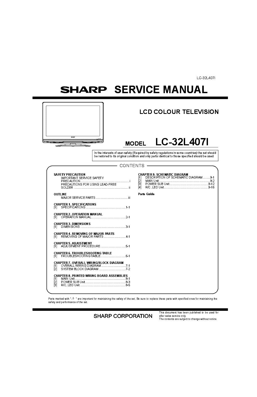 sharp aquos tv manual download