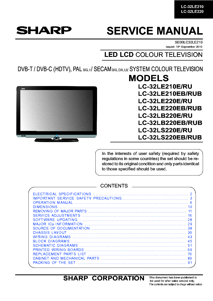 sharp lc 32le210e le220e lb220e ls220e led tv service manual rh elektrotanya com sharp crt tv service manual sharp aquos tv service manual