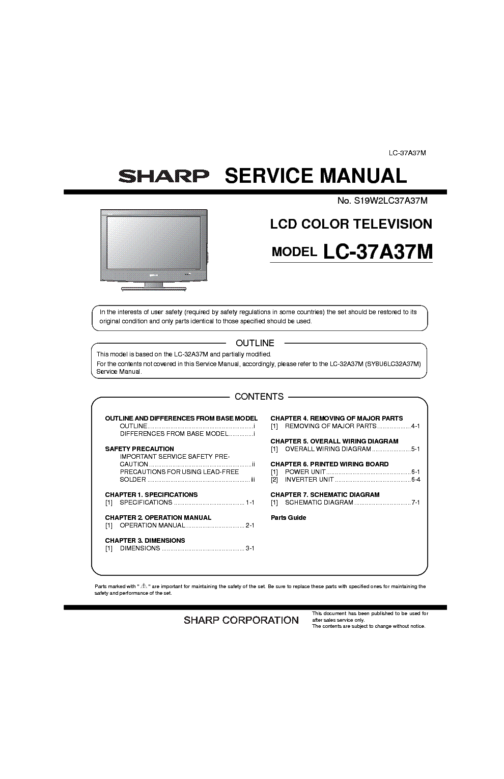 sharp lc 37a37m sm service manual download schematics eeprom rh elektrotanya com Sharp ER-A170 Microwave Oven Sharp R 308J