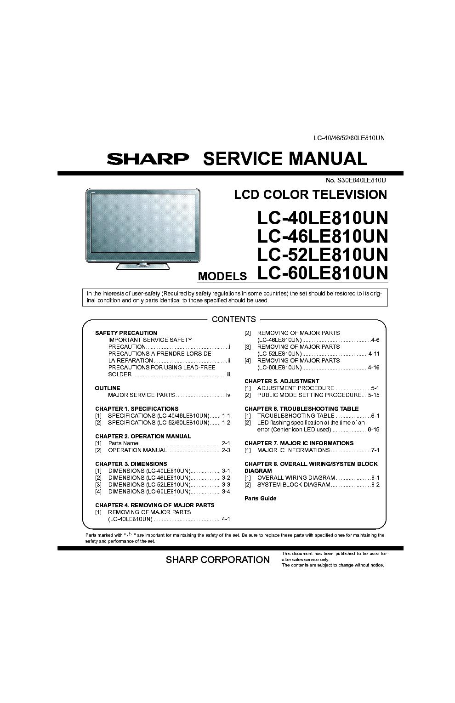 sharp lc 40le810un lc 46le810un lc 52le810un lc 60le810un service rh elektrotanya com Sharp ManualsOnline KB Sharp 6525P5