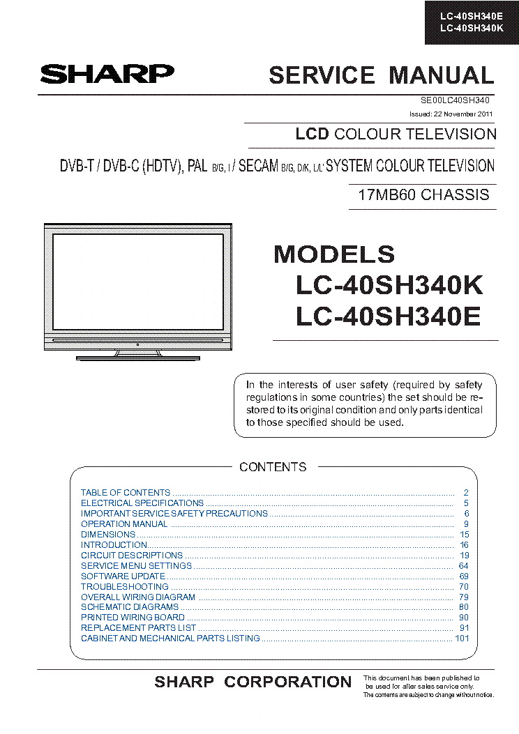 SHARP LC-40SH340K LC-40SH340E CHASSIS 17MB60 service manual (1st page)