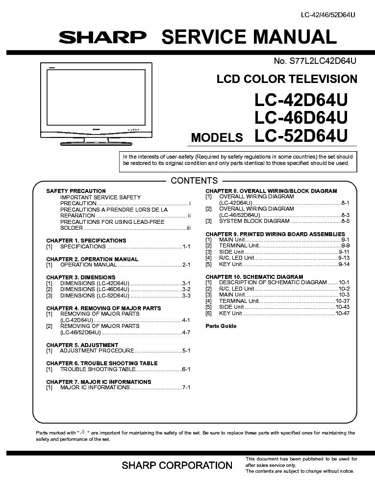 sharp lc 32sb28ut lc 42sb48ut service manual download schematics rh elektrotanya com sharp lc-42d64u manual sharp aquos 42 lcd tv model lc-42d64u manual