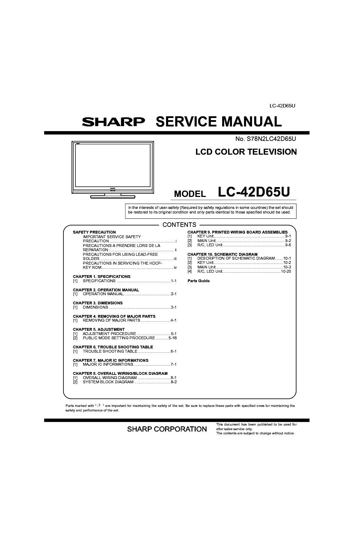 sharp lc 42d65u service manual download schematics eeprom repair rh elektrotanya com KB Sharp 6525P5 sharp aquos lc42d65u manual